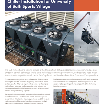 Chiller Installation for University of Bath Sports Village