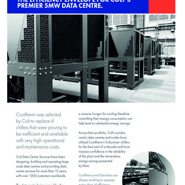 COOLTHERM CONTINUES TO PUSH THE EFFICIENCY ENVELOPE FOR COLT'S PREMIER 5MW DATA CENTRE