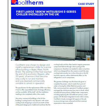 FIRST LARGE 180KW MITSUBISHI E-SERIES CHILLER INSTALLED IN THE UK
