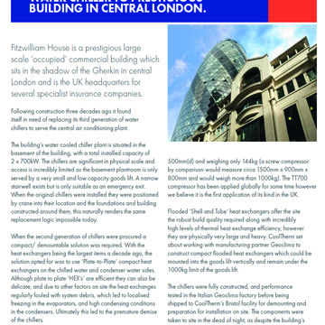 COOLTHERM INSTALLS INNOVATIVE WATER CHILLER TO PRESTIGIOUS BUILDING IN CENTRAL LONDON