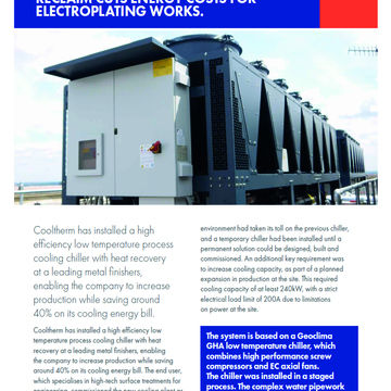 NEW LOW TEMPERATURE CHILLER WITH HEAT RECLAIM CUTS  ENERGY COSTS FOR PROCESS PROJECT