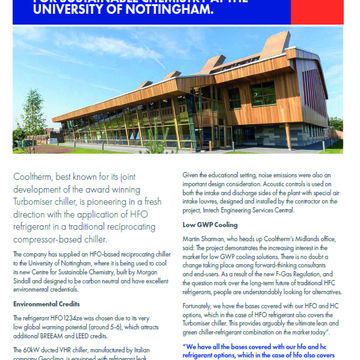 HFO CHILLER COOLS NEW CENTRE FOR SUSTAINABLE CHEMISTRY AT THE UNIVERSITY OF NOTTINGHAM