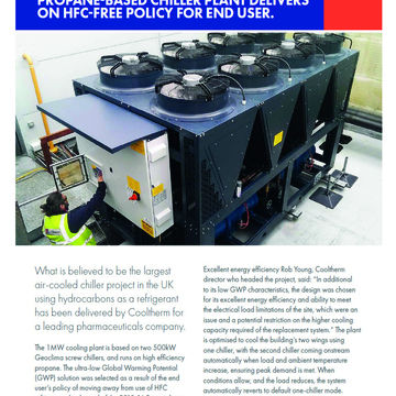 UK'S LARGEST AIR-COOLED PROPANE-BASED CHILLER PLANT DELIVERS ON           HFC-FREE POLICY FOR END USER