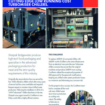 SHARPAK ENLISTS THE HELP OF COOLTHERM TO PROVIDE  CUTTING EDGE LOW RUNNING COST TURBOMISER CHILLERS